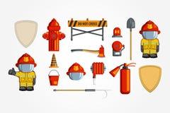 Комплект значка вектора красочный винтажный плоский иллюстрация для infographic Эмблема оборудования и волонтера пожарного Стоковые Фото