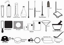 Комплект значка вектора научной лаборатории, химические значки установил, химическая лаборатория, химическое стеклоизделие также  иллюстрация вектора