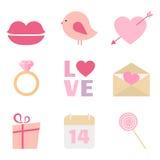 Комплект значка вектора дня валентинки Стоковые Изображения