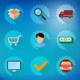Комплект значка вектора онлайн процесса покупок плоский Стоковое Изображение