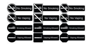 Комплект значка вектора позволенных для некурящих и курить Стоковое Изображение