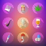 Комплект значка вектора плох привычек плоский Включите пиво, спирт, пилюльки, I Стоковое Изображение