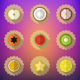 Комплект значка вектора плодоовощ плоский Включите яблоко, лимон, папапайю, звезду Стоковое Изображение RF