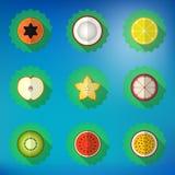 Комплект значка вектора плодоовощ плоский Включите яблоко, лимон, папапайю, звезду Стоковые Изображения RF