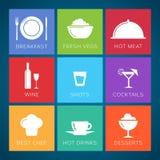 Комплект значка вектора стиля бара и ресторана плоский. Стоковая Фотография RF