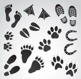 Комплект значка вектора следов ноги Стоковая Фотография RF
