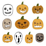Комплект значка вектора хеллоуина Стоковое Фото