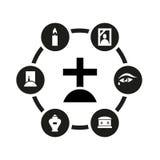 Комплект значка вектора черный похоронный Стоковые Изображения RF