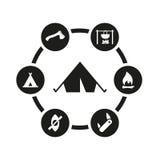 Комплект значка вектора черный располагаясь лагерем Стоковая Фотография
