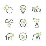 Комплект значка вектора экологичности простой Стоковые Изображения