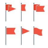 Комплект значка вектора Pin флага плоский Стоковые Изображения