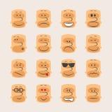 Комплект значка вектора smiley смотрит на настроение и выражение эмоций Стоковое фото RF