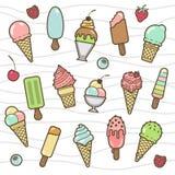 Комплект значка вектора yummy покрашенного мороженого Стоковое фото RF
