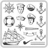 Комплект значка винтажного матроса военноморской в monochrome иллюстрации стиля Стоковые Фотографии RF