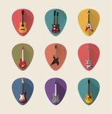 Комплект значка гитар плоский Стоковая Фотография