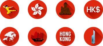 Комплект значка Гонконга плоский Стоковые Фотографии RF