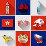 Комплект значка Гонконга плоский Стоковая Фотография