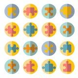 Комплект значка головоломки плоский Стоковые Изображения
