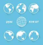 Комплект значка глобуса Vecrot. Современный плоский стиль Стоковая Фотография RF