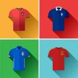 Комплект значка Джерси футбола Европы плоский Стоковые Изображения