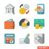 Комплект значка денег плоский Иллюстрация штока