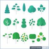Комплект значка дерева плоский Иллюстрация штока