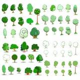 Комплект значка деревьев также вектор иллюстрации притяжки corel Стоковая Фотография RF