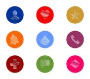 Комплект значка дела красочный круглый стоковое изображение