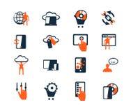 Комплект значка дела Развитие программного обеспечения и сети, маркетинг бесплатная иллюстрация