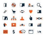 Комплект значка дела Развитие программного обеспечения и сети, маркетинг Стоковые Фото