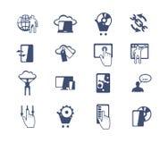 Комплект значка дела Развитие программного обеспечения и сети, маркетинг Стоковые Изображения