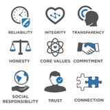 Комплект значка деловой этики твердый бесплатная иллюстрация