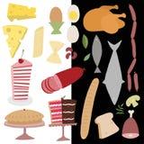 Комплект значка еды вектора Стоковые Изображения