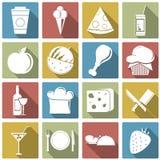 Комплект значка еды также вектор иллюстрации притяжки corel Стоковые Фотографии RF