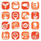 Комплект значка еды цвета Стоковое фото RF