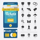 Комплект значка жанра кино, кино онлайн Стоковое Изображение RF
