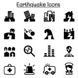 Комплект значка землетрясения Стоковое Изображение RF