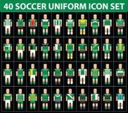 комплект значка зеленого цвета футбола футбола 40 равномерный Стоковая Фотография RF
