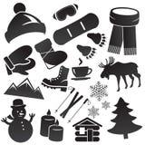 Комплект значка зимы Стоковые Изображения