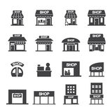 Комплект значка здания магазина Стоковое Фото