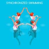 Комплект значка игр лета синхронного плавания равновеликая команда пловца 3D Международная конкуренция танца воды плавая спортивн иллюстрация штока