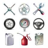 Комплект значка инструментов обслуживания автомобиля бесплатная иллюстрация