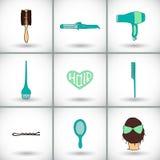 Комплект значка инструментов парикмахерских услуг Нарисованное вручную собрание шаржа вещества дизайна волос - гребня, щетки для  Стоковое фото RF