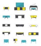 Комплект значка интерьера офисной мебели дома и в плоском дизайне Стоковое Изображение RF