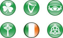 Комплект значка Ирландии лоснистый Стоковое фото RF