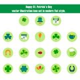 Комплект значка иллюстрации вектора дня счастливого St. Patrick в плоском стиле Стоковые Изображения