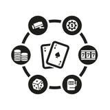 Комплект значка казино вектора черный Стоковые Изображения RF
