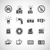 Комплект значка камеры и вспышки, вектор eps10 иллюстрация штока