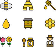 Комплект значка касаясь меда и пчел иллюстрация штока