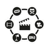 Комплект значка кино вектора черный Стоковое Изображение